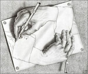 M.C. Escher zeichnende Hände